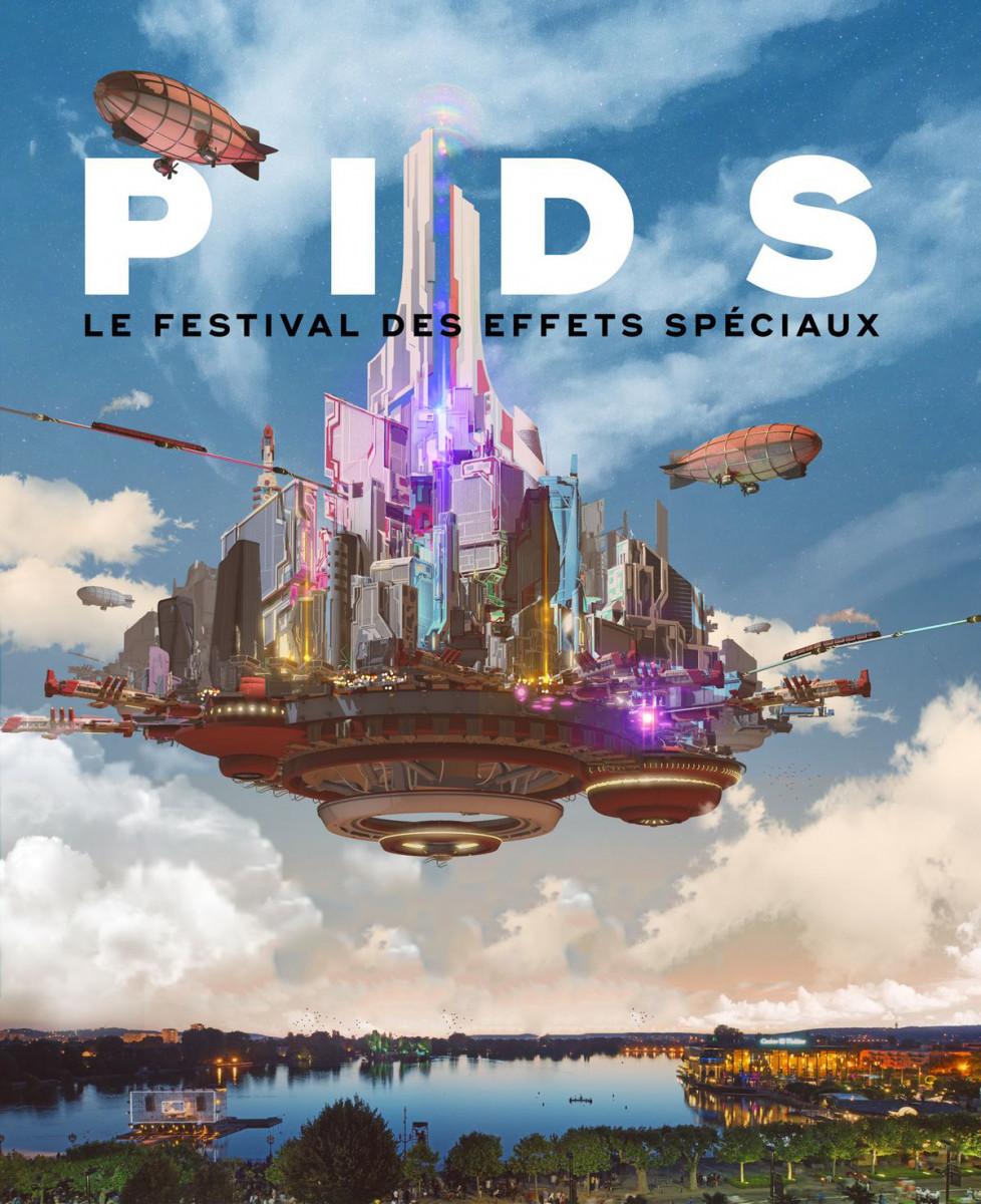 Affiche du PIDS mettant en scène une ville flottant au dessus d'un paysage